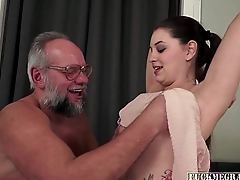 Brunette Teen Strokes Gramps Big Cock
