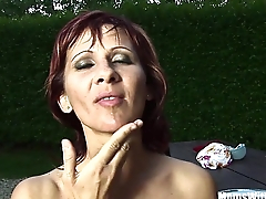 Mature Redhead Myra Like a breath of fresh air Wine Full Be proper of Cum