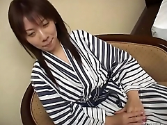 Subtitled unfaithful Japanese wife gives man of the hour a blowjob