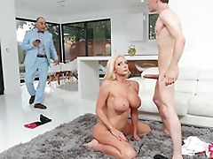 Rich wife Nicolette Shea gets caught big Daddy and taking a facial from the horse jockey