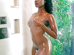 Slender black girl Chanell Heart taking a shower