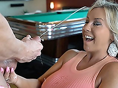 Hot Wife Sucks Off A Guest Cock Gets Cum Splashed
