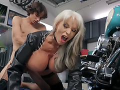 Sally D'Angelo gets pounded by young Ricky Spanish next to her Harley