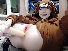 Sexy brunette teen bear costume masturbating greater than webcam