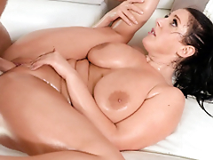 Shaved cum-hole of Angela White is filled with man's constant XXX tool