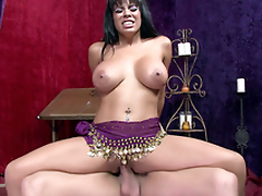 Entrancing Latina Luna Star saddles the boner to execute XXX dance