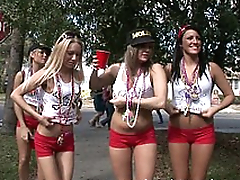 Cheerleading moms walk down the street gross ready be worthwhile for XXX entertainment