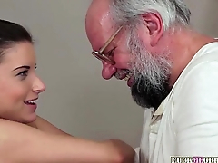 Grandpa playful with a babe